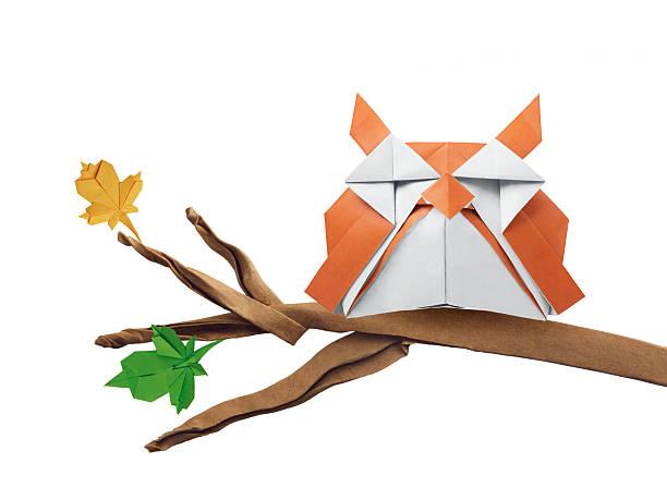 origami-eule - eule zeichnung stock-fotos und bilder