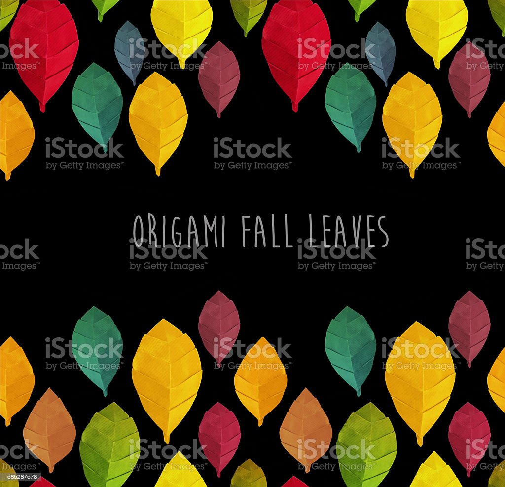 Origami autumn leaves pattern stock photo