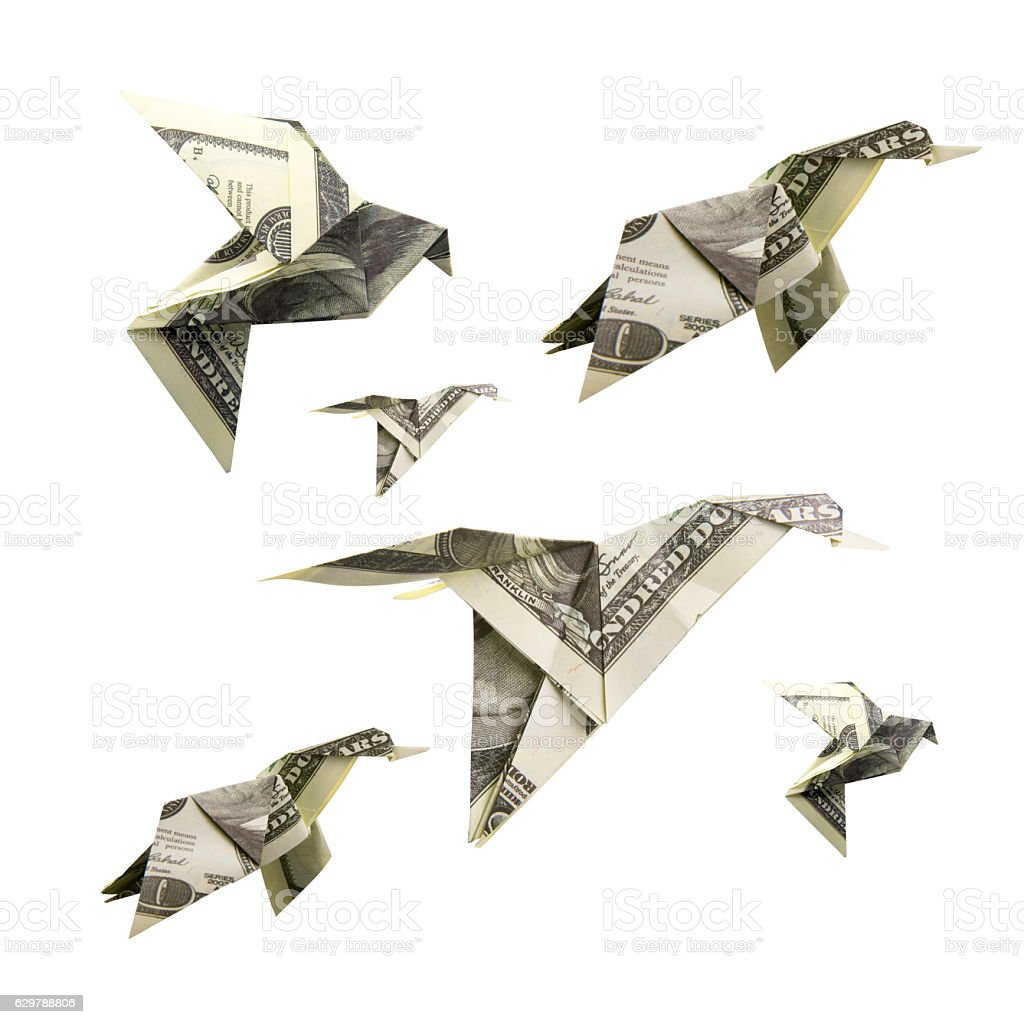 Origami Bird from banknotes stock photo
