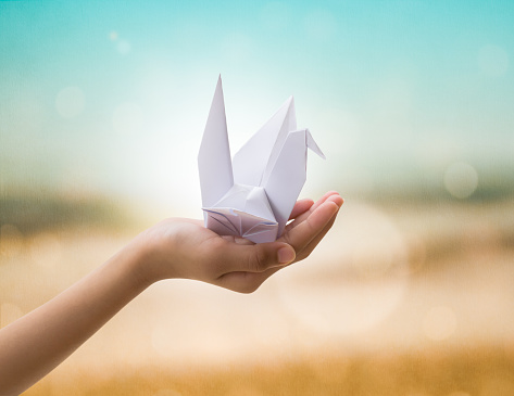 Origami bird on children's hand with beautiful natural backgroun