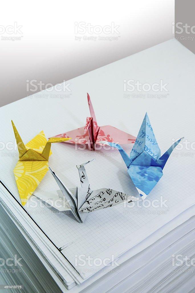 Origami birds on colors for printing,Vögel stock photo