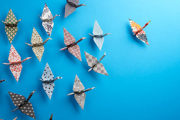 origami birds - crane bird stock pictures, royalty-free photos & images