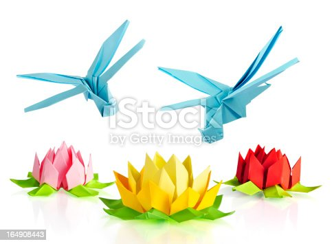 origami blue dragonfly over flowers lotus over white background