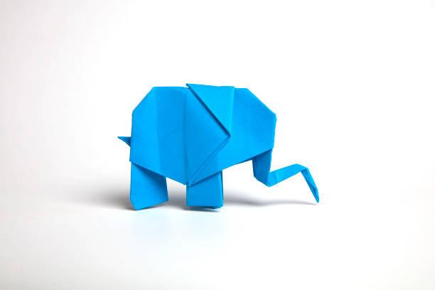 Origami Blue elephant stock photo