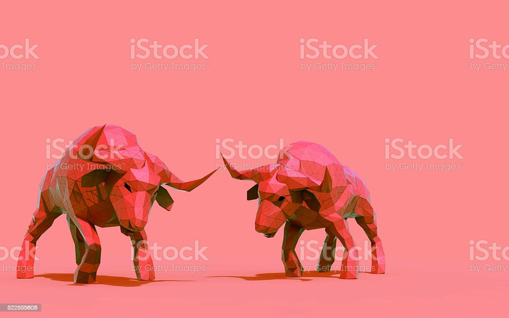 Origami Bull LowPoly animals Concept stock photo