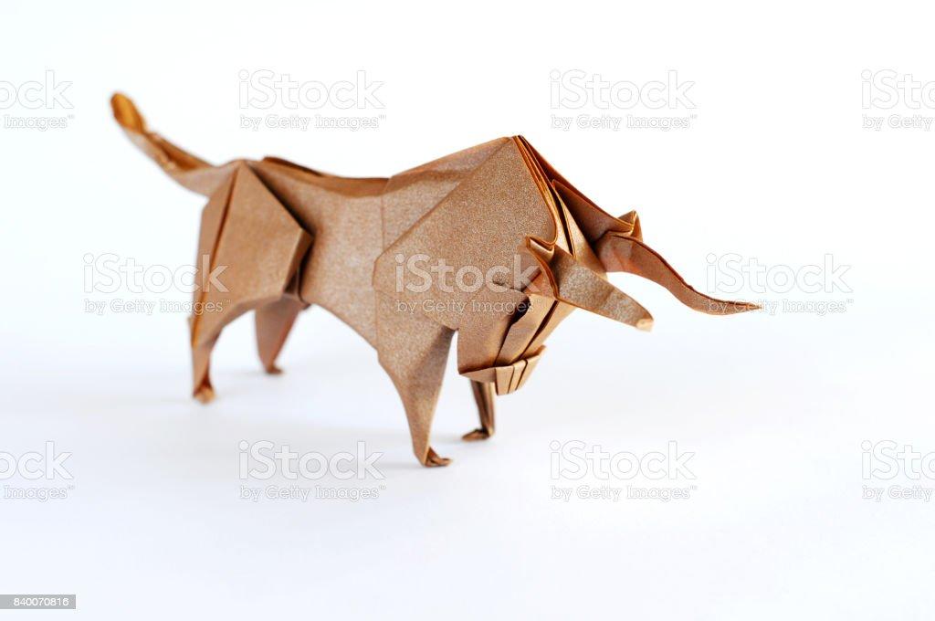 Origami Bull stock photo