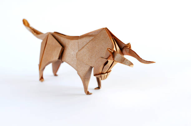 Origami Bull Origami Bull bull market stock pictures, royalty-free photos & images