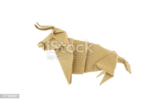 istock Origami bull recycle  paper 477938081