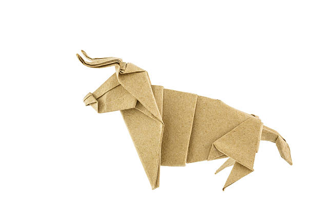 Origami bull recycle  paper stock photo