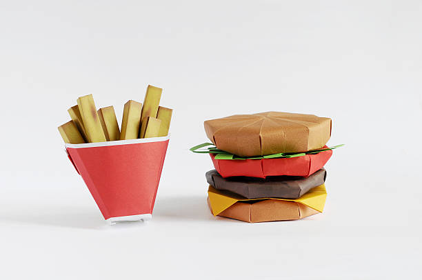 Origami Burger and French Fries - foto de acervo
