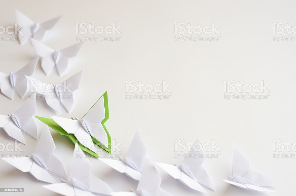 Origami butterflies stock photo