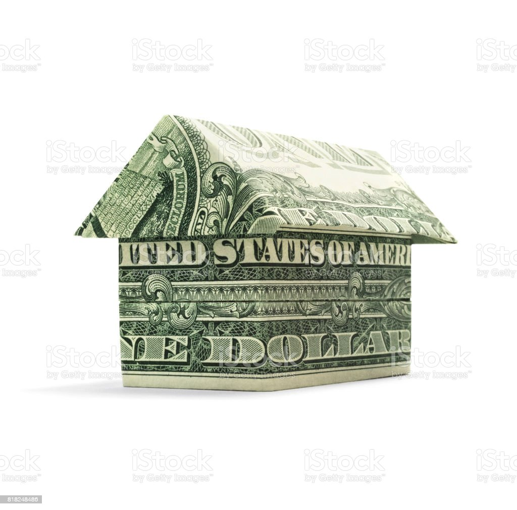 Origami Cash Home stock photo