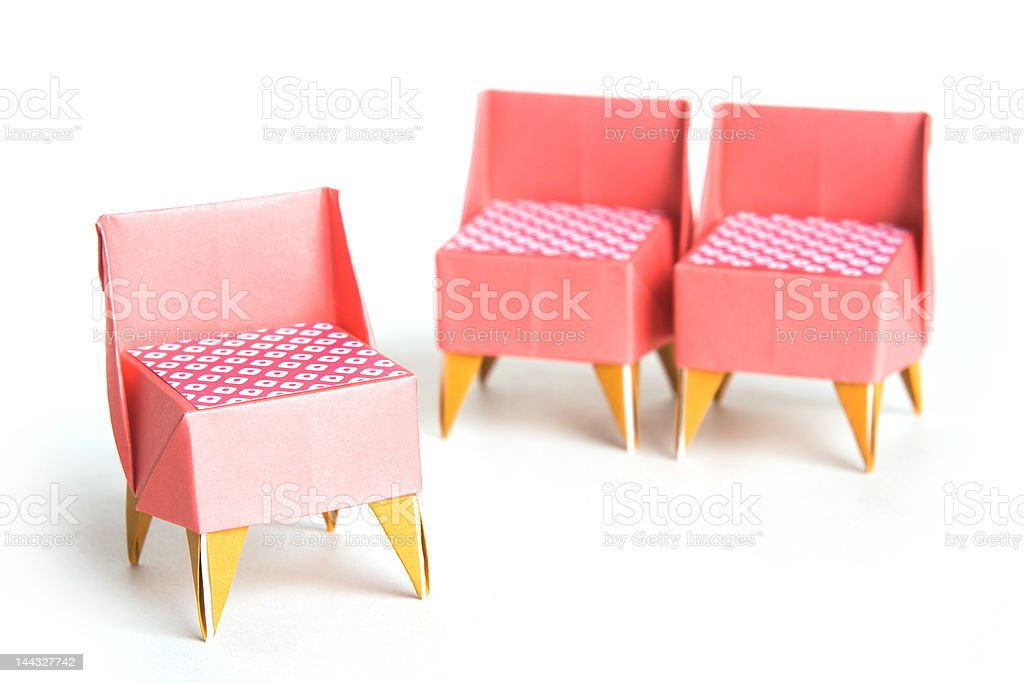 Origami chairs stock photo