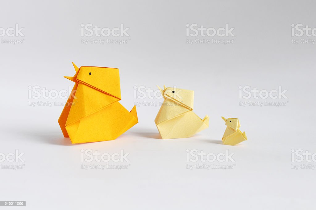 Origami Chickens stock photo