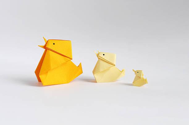Origami Chickens stock photo