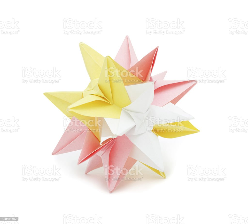 Origami: colorful paper star, isolated royalty-free stock photo