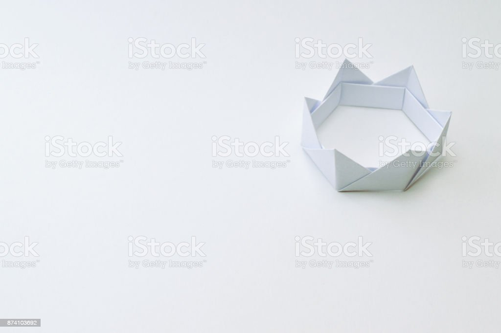Origami Crown On White Background Stock Photo More Pictures Of