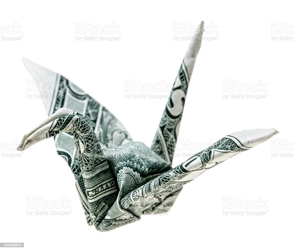 Origami dollar crane stock photo