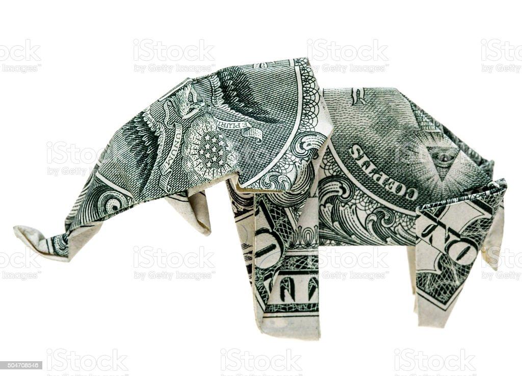 Origami dollar elephant stock photo