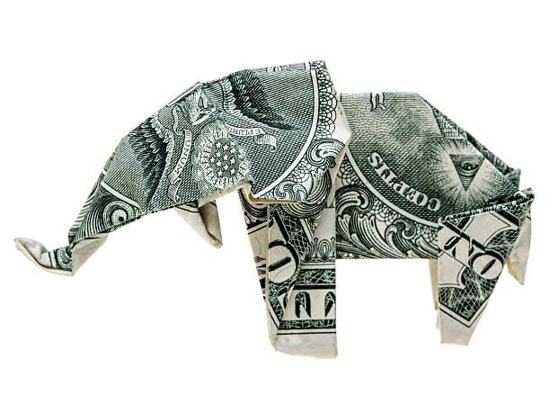оригами доллар elephant - республиканская партия сша стоковые фото и изображения