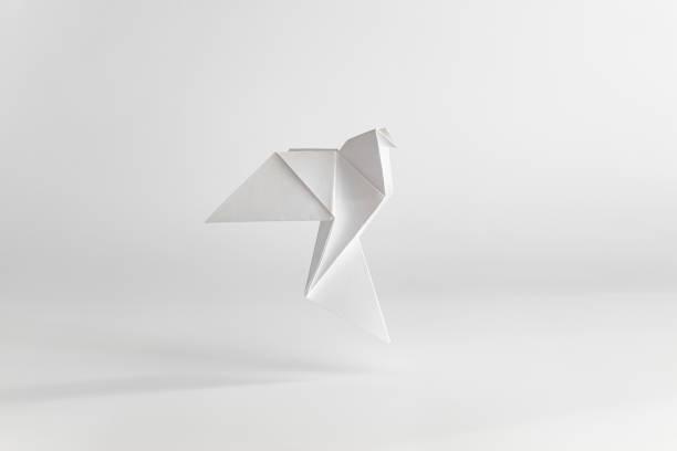 colombe en origami faite de papier blanc sur fond blanc uni. concept minimal. - origami photos et images de collection