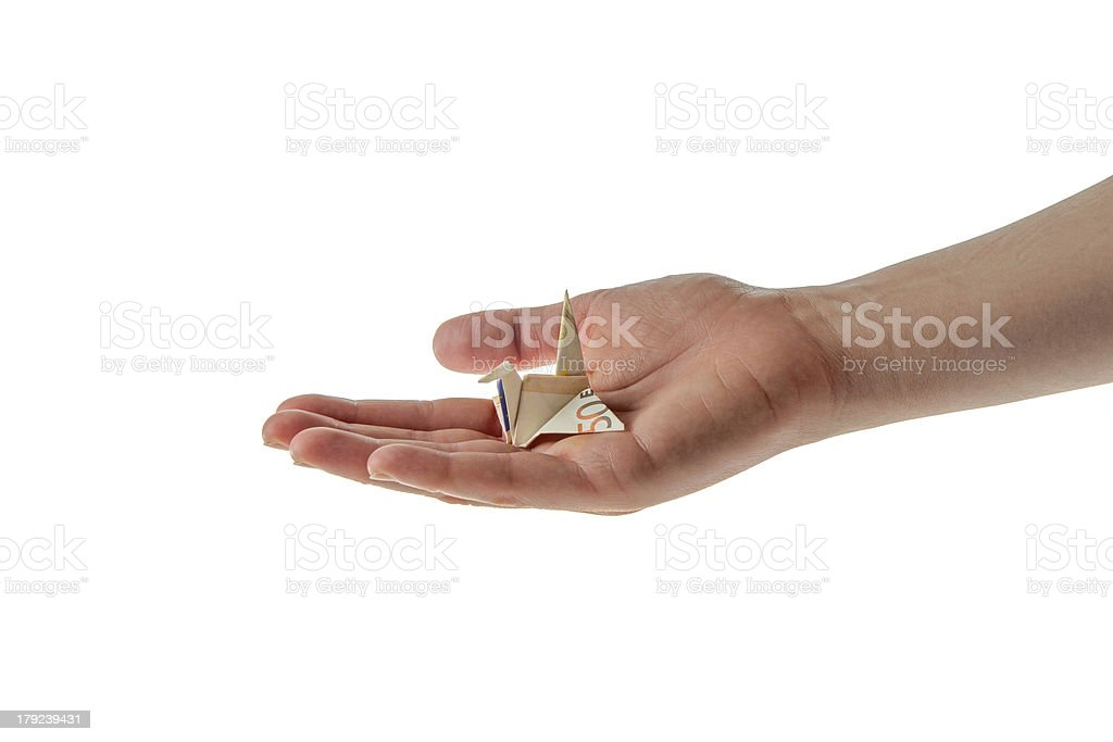 origami euro money woman hands royalty-free stock photo