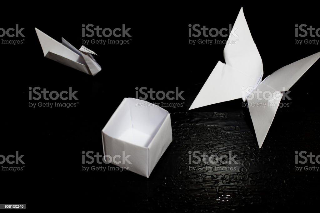 Origami Falten Von Papier Papier Kran Box Und Schmetterling