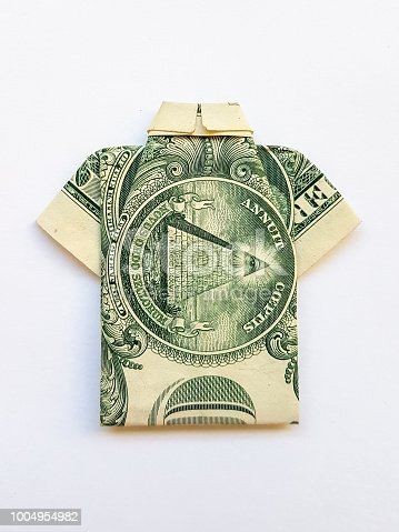 Origami from a paper bill American dollar