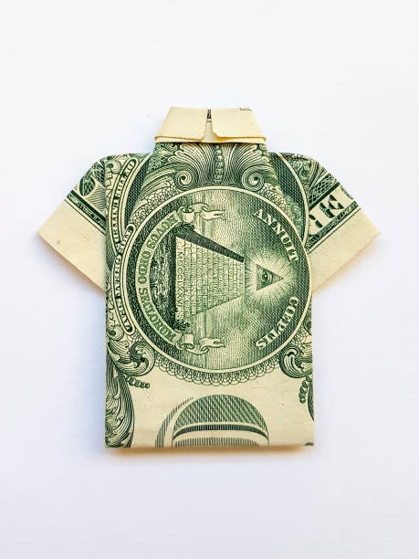 Origami from a paper bill American dollar stock photo