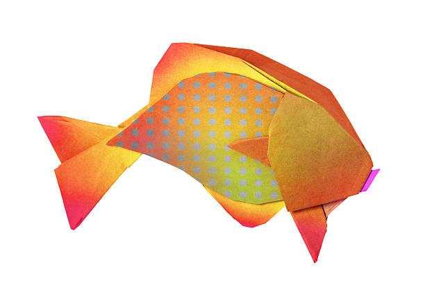 origami goldenen fisch - origami mobil stock-fotos und bilder