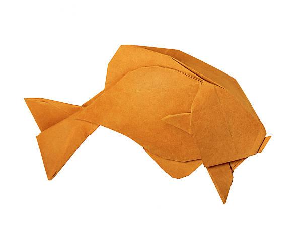 origami golden vintage fisch - origami mobil stock-fotos und bilder