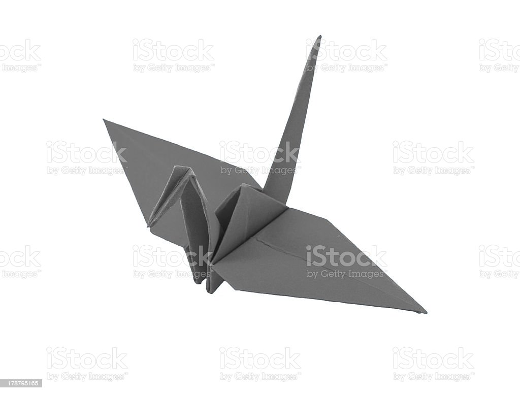origami gray paper bird on white background royalty-free stock photo