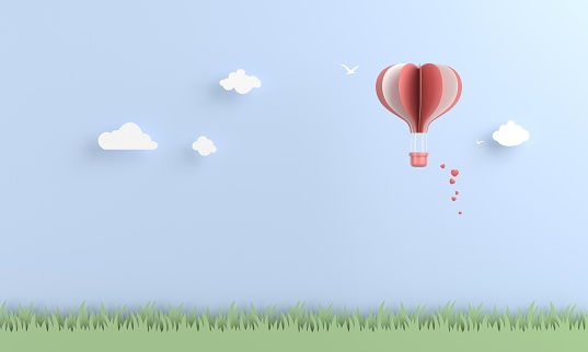 Origami hot air balloon in the sky