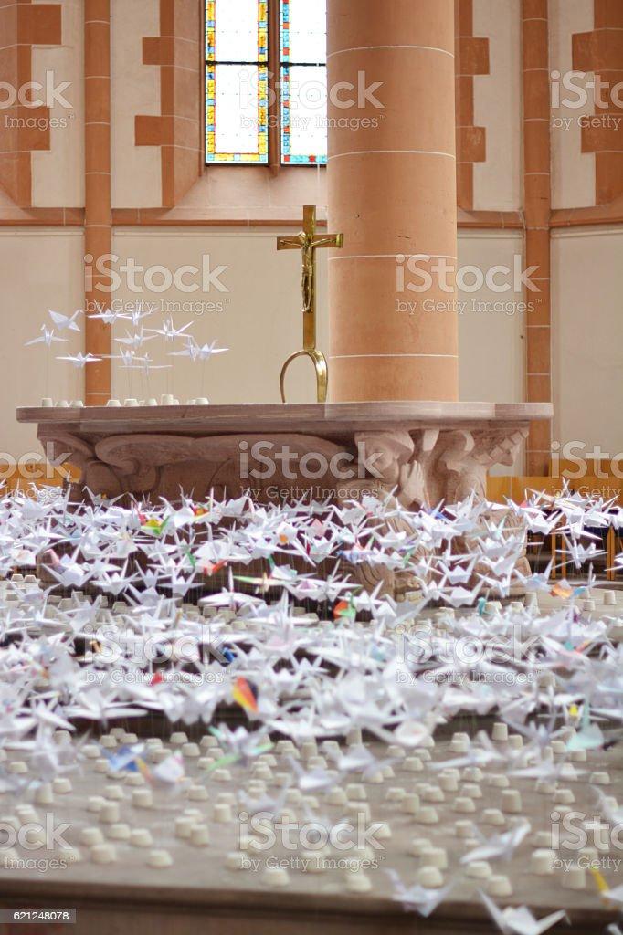 Origami in a church stock photo