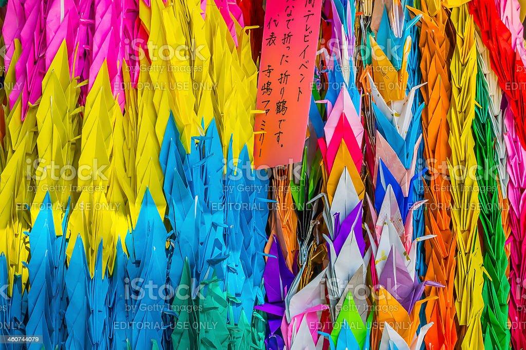 Origami in Hiroshima Peace Park stock photo