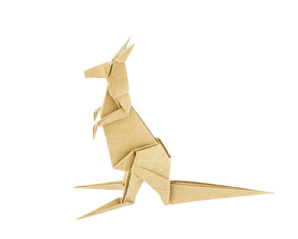 Origami kangaroo recycle paper stock photo