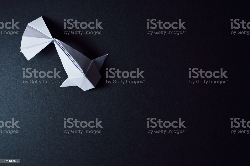 Origami Koi Fish On Dark Background Stock Photo More Pictures Of
