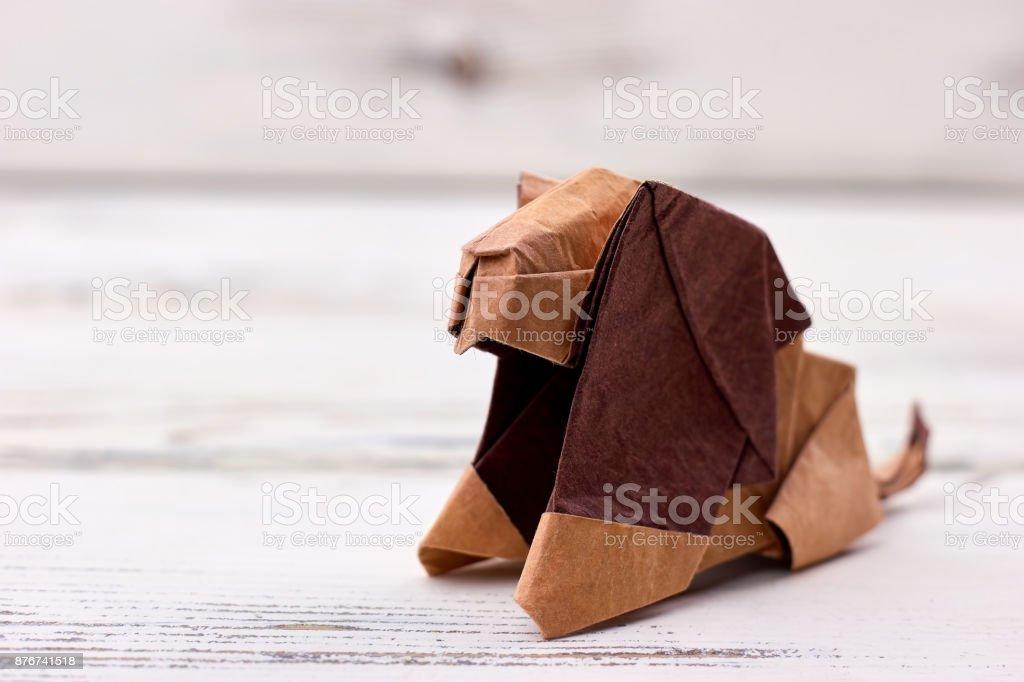 Origami lion 3D model stock photo