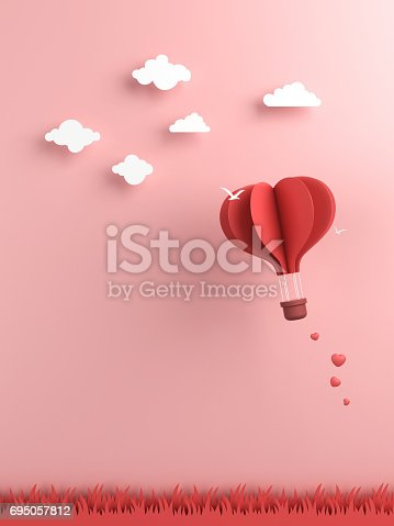 istock Origami made hot air balloon and cloud 695057812