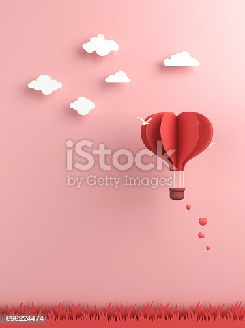 istock Origami made hot air balloon and cloud 696224474