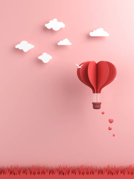 origami made hot air balloon and cloud - conceptual symbol stock pictures, royalty-free photos & images