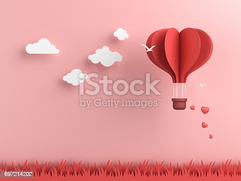 istock Origami made hot air balloon and cloud 697214202