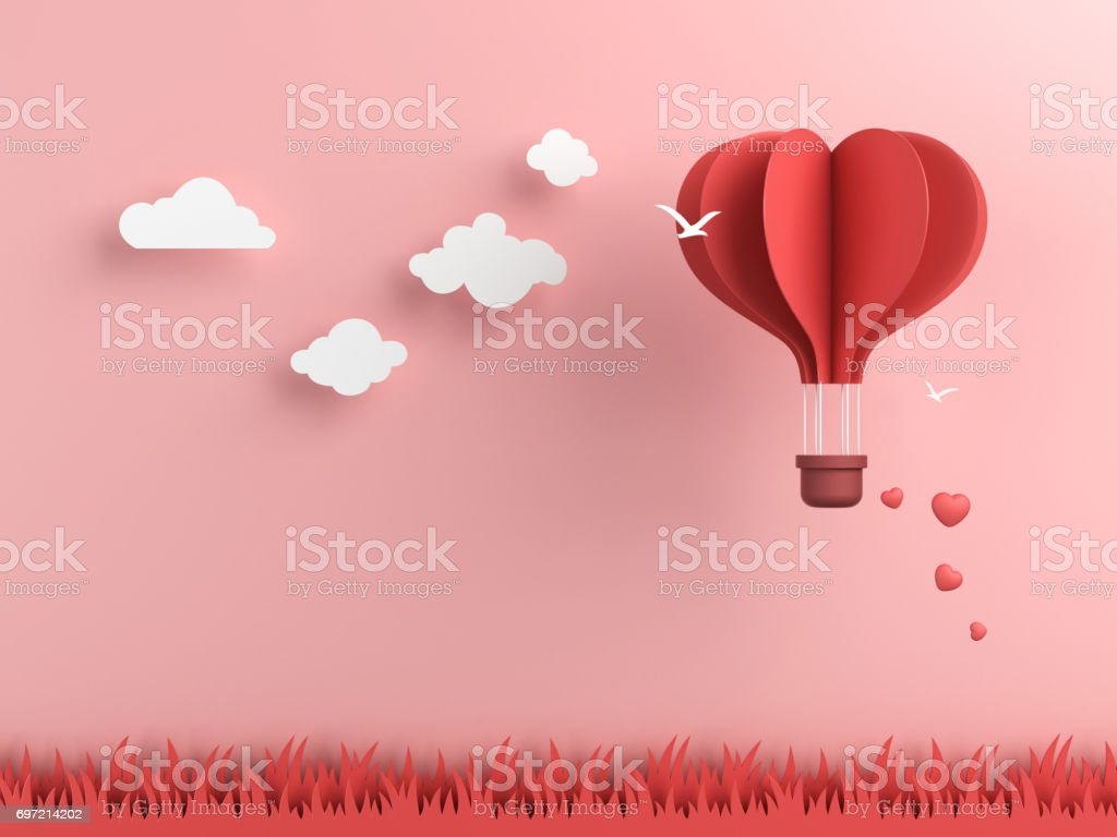 Origami made hot air balloon and cloud stock photo