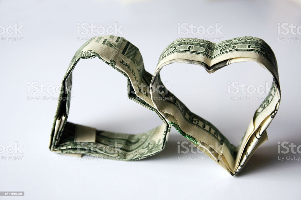 Origami Money Hearts Made from U.S. Dollars stock photo