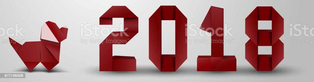 Origami New Year banner stock photo