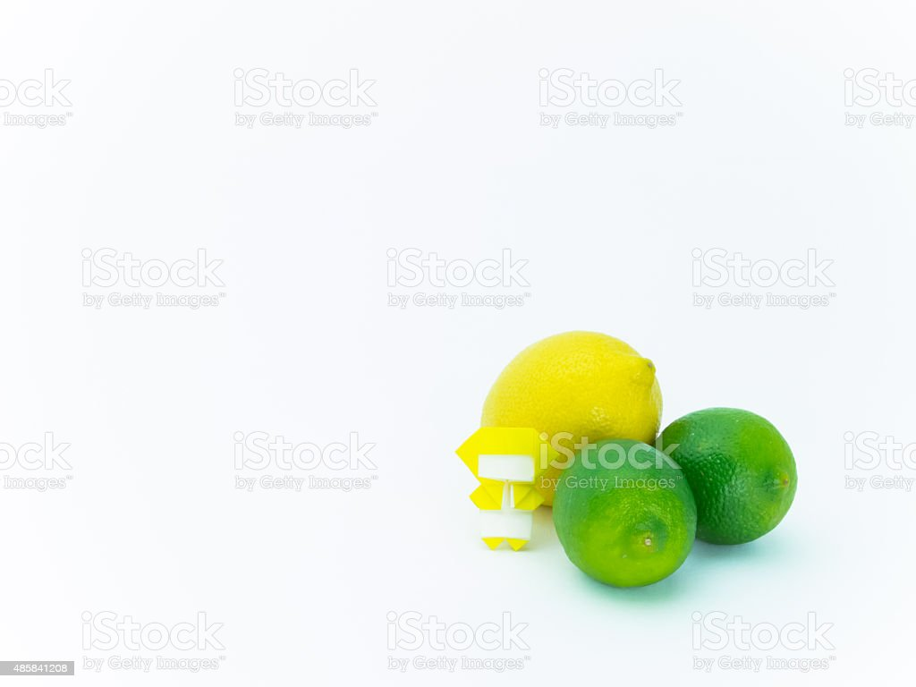 Origami Ninja with Vegetables and Fruits stock photo
