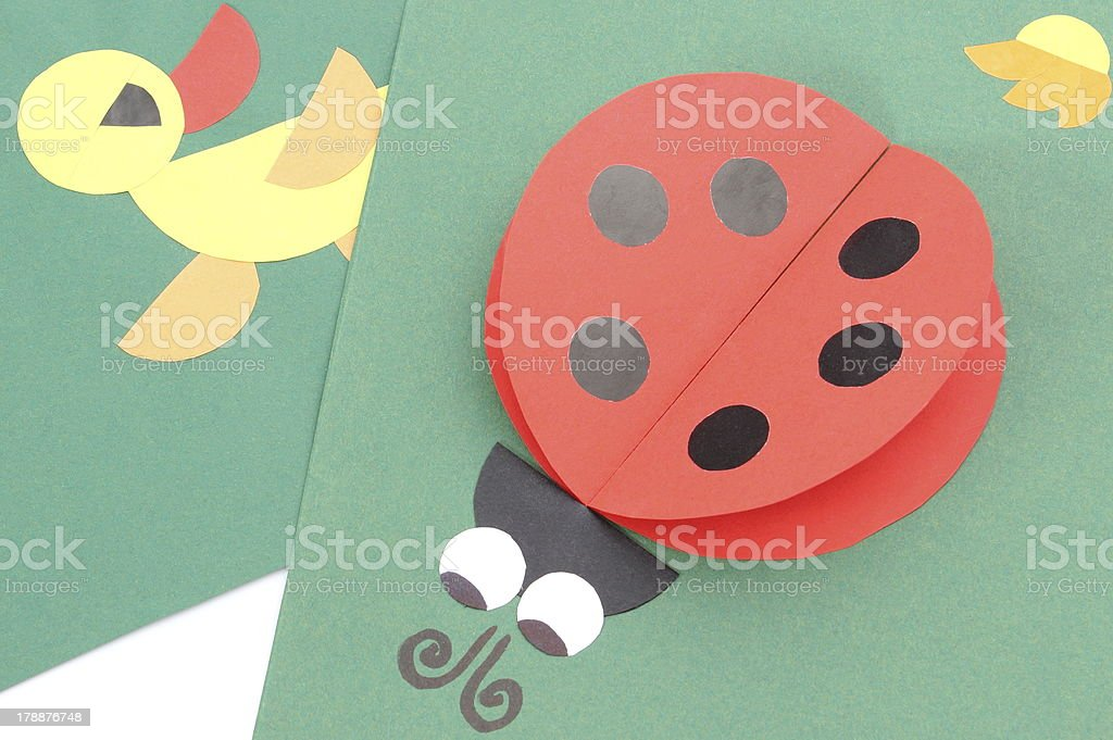 Origami of ladybug and duck from recycled paper royalty-free stock photo