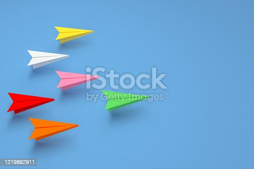 3d rendering of paper airplane, teamwork and leadership business concept. Simplicity, minimal design.