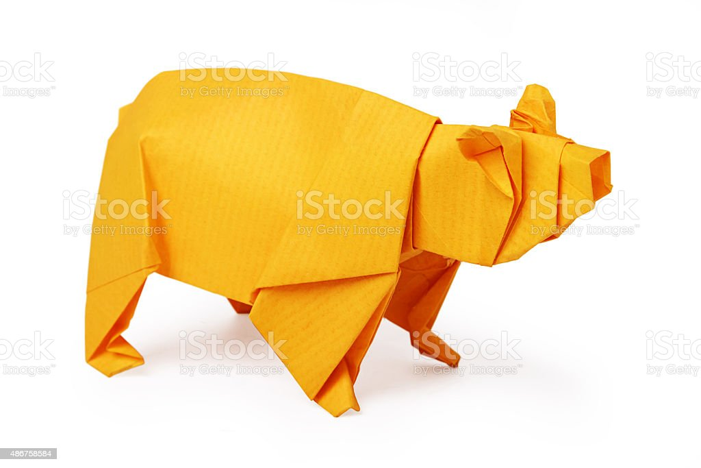 Origami paper bear stock photo