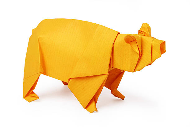 Origami paper bear stock photo